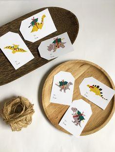 Dinosaur Christmas tree truck Printable Christmas gift tags