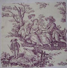 purple toile fabric