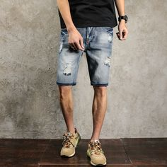 >> Click to Buy << Men's Short Hole Jeans Elastic Waist plus Size Casual Five Minute Jeans Fashion Pants Free Shipping Denim Brand Slim fit 28-38 #Affiliate