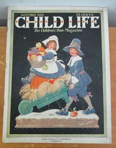 Nov 1929 CHILD LIFE Magazine Thanksgiving Issue with Hazel Frazee Cover Art