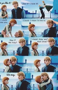 Frozen.  OH MY GOSH HIS FACE.  This is the Disney ending I want. <3...also...KRISTANNA ALL THE WAY!!!