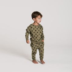 Rylee & Cru Boys Outfit | Checker Sweatshirt | French Terry sweatshirt with all-over check print | Olive | Checker Sweatpant | French Terry sweatpants with all over check print | Cotton Drawstring and pockets |