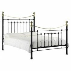 The Julian Bowen Victoria Double Satin Black and Brass Bed Frame is one item of one of the largest range of metal beds, available here at Bed SOS all with available free delivery standard. Metal Double Bed, Black Metal Bed Frame, Double Beds, Steel Frame, Bed Frame With Mattress, King Size Bed Frame, Upholstered Bed Frame, Victorian Bed, Brass Bed