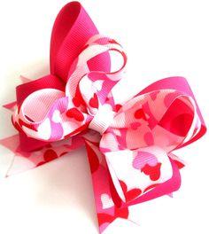 Valentine's Day Hair Bow Girls/Toddler Heart by MissLittleBowtique, $8.00