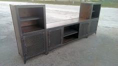 vintage industrial steel and wood media entertainment center by IdustrialEvolutionFurnitureco. on Etsy, $2,900.98