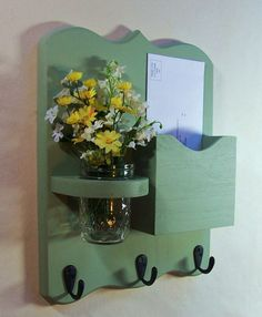 Letter Holder  Key Hooks Jar Vase  Mail Organizer by LegacyStudio, $24.95