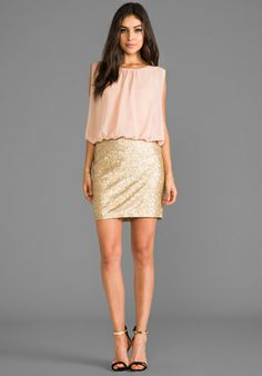 MM COUTURE BY MISS ME Sequin Bottom Dress in Gold - Cocktail