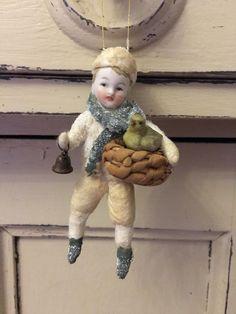Wattefigur mit Porzellankopf,Winterkind für Federbaum, JDL, Shabby,Vintage | eBay
