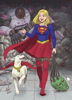 Krypto and Supergirl beat Brainiac