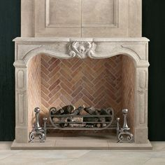 Decorative fire basket from Chesney's for Gas log fireplaces – Farmhouse Fireplace Mantels French Country Fireplace, Farmhouse Fireplace Mantels, Fireplace Mantel Surrounds, Gas Fireplace Logs, Limestone Fireplace, Concrete Fireplace, Gas Logs, Home Fireplace, Fireplace Design