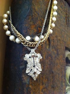 Vintage Multi Chain Necklace with Rhinestone Shoe Clip   on Etsy, $60.00