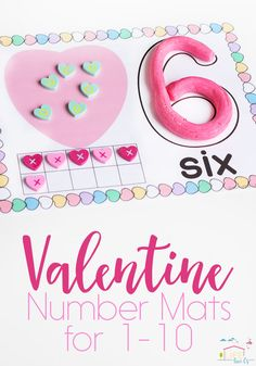 Your kids will have a blast using these versatile free printable Valentine Number Mats. Use them with play dough, pom poms, erasers and much more!