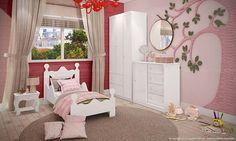 Quarto infantil com decoração rosa. Clique na imagem para saber mais.