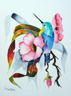 Watercolor Painting Original, Hummingbird and Rainbow Flower Painting, Bird Painting, Flower Paintin Watercolor Paintings For Sale, Watercolor Bird, Original Paintings, Bird Paintings, Painting Flowers, Winsor And Newton Watercolor, Primitive Homes, Rainbow Flowers, Bird Art