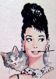 .Audrey Hepburn and Kitty painting. so cute