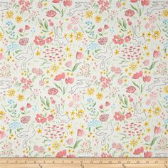 Michael Miller Sommer Garden Bloom from @fabricdotcom  Designed by Sarah Jane for Michael Miller Fabrics, this cotton print fabric is perfect for quilting and craft projects. Colors include pink, green, yellow, blue, grey and off-white.