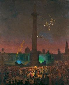 Armistice Night, Trafalgar Square, 1918 by George F. Carline 1855–1920 Nationality: British