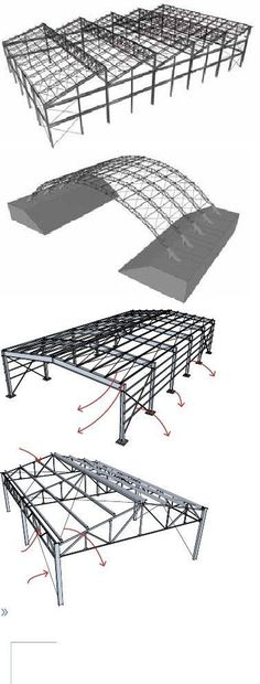 Metal Building Erector Prices and Pics of Metal Buildings Anchorage Ak. Truss Structure, Steel Structure Buildings, Building Structure, Metal Shop Building, Building A Shed, Building Ideas, Steel Trusses, Roof Trusses, Roof Truss Design