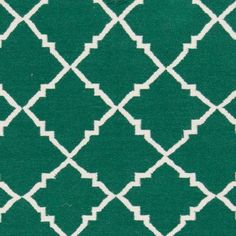 Art of Knot Prichard Hand Woven Gate Scroll Flatweave Wool Area Rug, Forest, Green