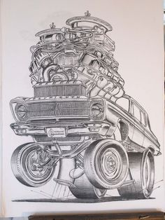 """""""I drew this 1965 Plymouth A990 Race Hemi during the 2015 Carlisle Chrysler Nationals show. I was seated in front of a real one on display and members of the original Ramchargers walked by and complimented me. That was a fantastic memory."""" Note the oil cup in the distributor, keenly defined lower control arms, and Holley logo on the outboard carburetor float bowl."""