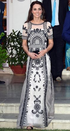 Bollywood Beauty from Kate Middleton's Best Looks  On a recent trip to India, the royal optsfloor-length silk top and matching skirt with all over black and white embroidery designed by Temperley London.
