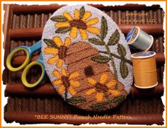 Bee Sunny Punch Needle Pattern Download by Diane Knott LLC by DianeKnottLLC on Etsy