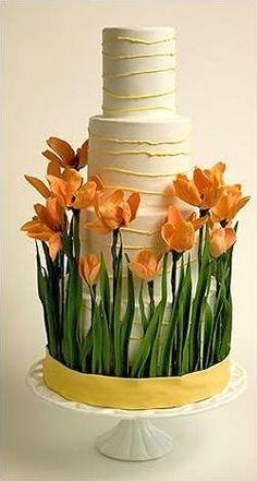 Orange tulip wedding cake, rustic but elegant. #wedding