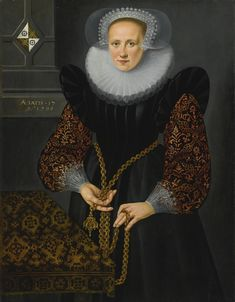 Dutch School, 1598 PORTRAIT OF AEFGE GIJBLAND (1581-1625) inscribed and dated upper left: AETATIS.17/Ao 1598 and charged with a coat-of-arms