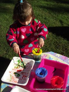Mummy Musings and Mayhem: Waxy Tray Painting....the paint makes wonderful effects as it touches the waxy surface!