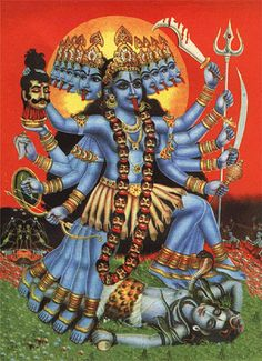 KALI Hindu goddess of time, change and death, a warrior and a demon slayer who also has the aspect of goddess mother, Shiva's shakti. Durga Kali, Kali Hindu, Kali Mata, Hindu Art, Shiva, Mother Kali, Divine Mother, Kali Goddess, Mother Goddess