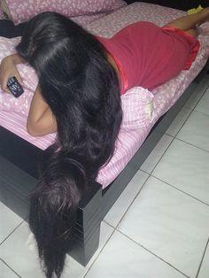 a Long Black Hair, Dark Hair, Beautiful Long Hair, Gorgeous Hair, Long Indian Hair, Super Long Hair, Silky Hair, Braids For Long Hair, Hair Pictures