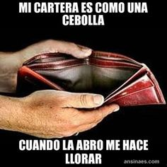 My wallet is like an onion, when I open it it makes me cry.  Memes Chistosos - Mi Cartera es como una cebolla