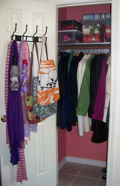 Oh, to have a coat closet this organized - and pink, to boot!