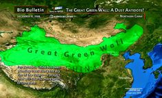 "For decades, China has been planting trees along the rim of the Gobi Desert. This ""Great Green Wall"" is the largest forestation project ever attempted, desig. Political Satire, New Forest, Environmental Science, Natural History, Trees To Plant, Science And Technology, Deserts, China, Wall"