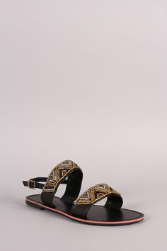 Liliana Beaded Two Band Slingback Flat Sandal