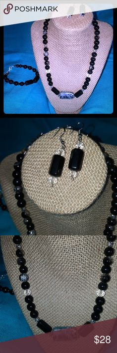 """Black Onyx and Glass Beads w/ Saworski Crystals Silver hardware all offers welcomed necklace 19"""" long 2""""ext. Natural Treasures Jewelry"""