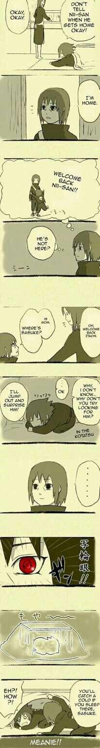 Sasuke, Itachi, Yoshino, mother, cute, comic, text, Sharingan, hide and seek, childhood, young; Naruto