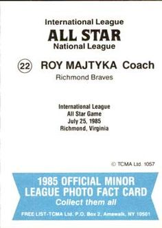 1985 TCMA International League All-Stars #22 Roy Majtyka Back