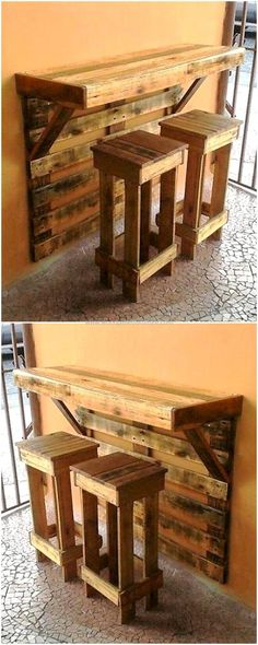 This is artistically constructed pallets wood breakfast table, crafted to provide your kid's a wonderful place so that they can do their breakfast easily. This wooden table with two medium-size wood pallets benches seems attractive and unique as shown in the picture given below. Pallet Bar Stools, Wood Pallet Bar, Pallet Counter, Pallet Stool, Outdoor Pallet Bar, Pallett Bar, Pallet Wood Walls, Pallet Benches, Bar Table And Stools
