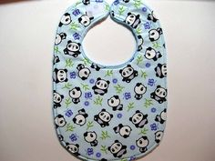 Title: CUTE PANDA.  Pattern placement may differ slightly, but made from same fabric.  My bibs have a layer of cotton batting for added absorbancy and body.        I love Minky fabric!  It is silky so