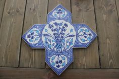 Large Vintage Hand Made Wall Tile Blue Flower Floral Signed James #James