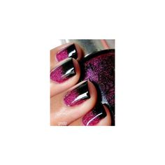 Purple glitter Nail art ❤ liked on Polyvore featuring beauty products, nail care and nail treatments