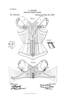 The lower figure 2 is for Men and Boys (the upper is for women)  1890 Shoulder Brace corset  Us Patent 433,095