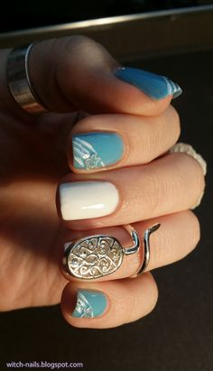 White & blue nails #notd #nailchallenge