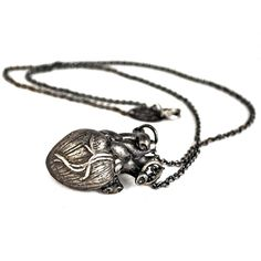 """Blackened heart necklace by Lillian Crowe. Oxidized white brass. Chain measures 22"""", heart is 1 1/4"""". http://sucrenyc.com"""