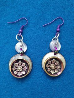 Unique Fashionable Button Earrings with Purple Accent, Creative Use for Shell, Plastic and Metal Button, Metal and Shell Dangle Drop Earring by CatterflyStudios on Etsy