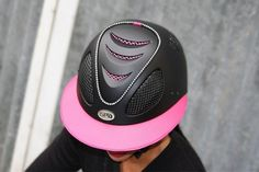 GPA First Lady 2X Leather Riding Helmet - Black Shell, Pink Leather and Gri