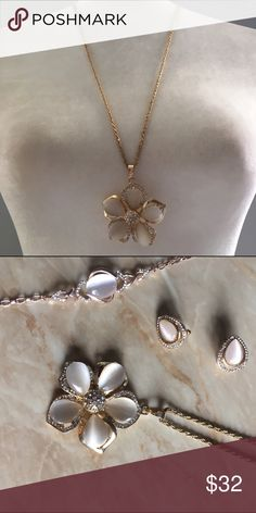Floral Rose Gold Long Necklace Brand new, never worn. Matching earrings and bracelet available for sale on separate listings. Just ask me and I'll bundle them for you if you're interested in a set. Thank you for supporting and shopping my closet! Fast shipping. No trades. Jewelry Necklaces
