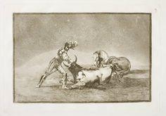 Goya en El Prado: Un caballero español mata un toro despues de haber perdido el caballo