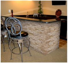 Mudroom / Kitchen Project. While Shopping for our New Back door - we came across this neat product called air stone. I am going to use this for my bar - just like this picture.